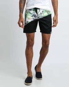 PEG Walk Shorts Tropical Print Black