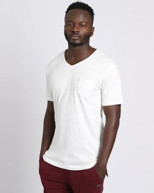 PEG Men's V Neck Pocket Tee White