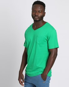 PEG Men's V Neck Pocket Tee Green