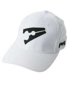 Peg Stretch Cap White and Black