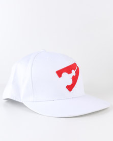 PEG Baseball Flat Cap White and Red