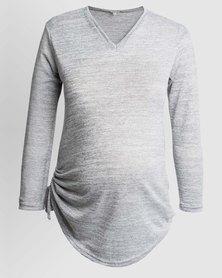 Penelope & Bella V-Neck Knit Top Grey