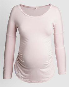 Penelope & Bella Stretchy Maternity Long Sleeve Tee  Pink