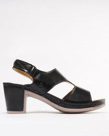 Pierre Cardin Comfort Block Heel Sandals Black