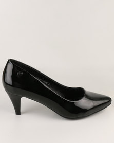 Pierre Cardin Mid Heel Almond Toe Court Black