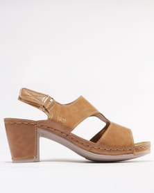 Pierre Cardin Comfort Block Heel Sandals Tan