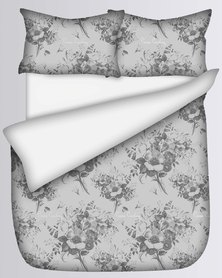 Pierre Cardin Ari Flannel Fitted Sheet and Pillow Case Set Grey