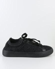 Pierre Cardin Ladies Sneaker Shoe O Lace Up Black
