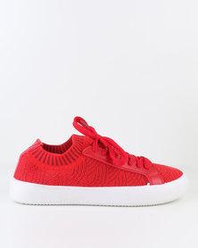 Pierre Cardin Ladies Sneaker Shoe O Lace Up Red