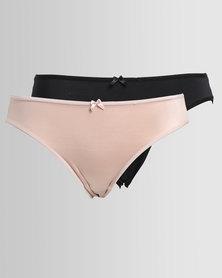 Playtex Peephole Shimmer 2 Pack Hi-cut Panty Black Nude