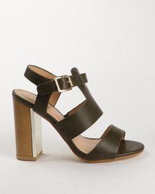 PLUM Berdina Block Heel Sandal Khaki