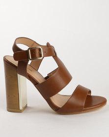 PLUM Berdina Block Heel Sandal Tan