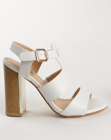 PLUM Berdina Block Heel Sandal White