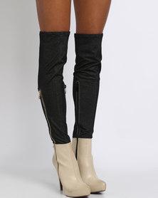 PLUM Stretch Denim Contrast Knee High Boot Nude/Black