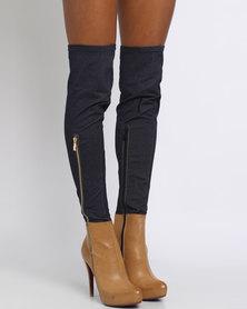 PLUM Stretch Denim Contrast Knee High Boot Tan/Blue
