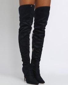PLUM Penryn Thigh High Heeled Boot Blue