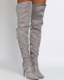 PLUM Penryn Thigh High Heeled Boot Grey