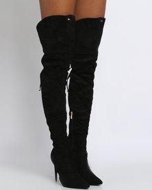PLUM Penryn Thigh High Heeled Boot Black