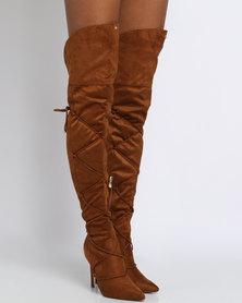 PLUM Penryn Thigh High Heeled Boot Tan