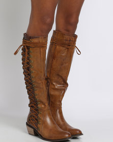 PLUM Persia Side Lace Knee High Boot Brown