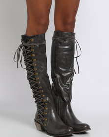 PLUM Persia Side Lace Knee High Boot Dark Grey