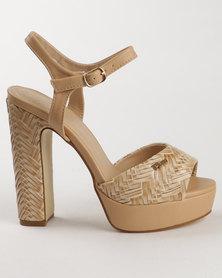 PLUM Wanda Block Heel Platform with Ankle Strap Nude