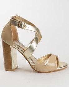 PLUM Scalt Block Heel Nude/Gold