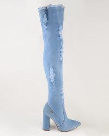 Plum High Heel Over The Knee Boots Blue Denim