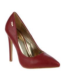 PLUM Harlow 2 Stiletto Pointy Court Heel Wine Red