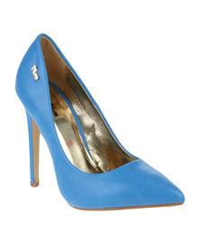 PLUM Harlow 2 Stiletto Pointy Court Heel Blue