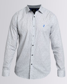 Polo Custom Fit Signature LS Shirt Grey