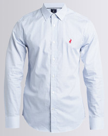 Polo Custom Fit Signature Long Sleeve Shirt Blue