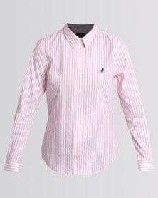 Polo Ladies Jamie LS Striped Stretch Shirt Pink