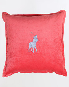 Polo Scatter Cushion Velvet Embroidered Pony Red