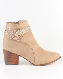 Polo Kendall Buckle Detail Ankle Shoot Tan
