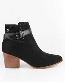 Polo Kendall Buckle Detail Ankle Shoot Black