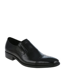 Polo Men's Brogue Toe Cap Formal Slip-on Black