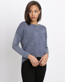 Polo Ladies Cropped Pigment Wash Pullover Navy
