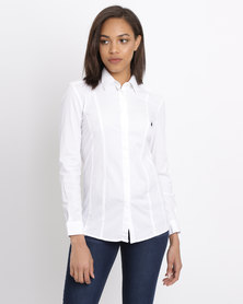 Polo Ladies Amber LS Concealed Front Shirt White