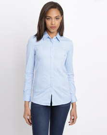 Polo Ladies Amber LS Concealed Front Shirt Blue