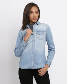 Polo Ladies Relaxed Fit Denim Shirt Light Wash Blue