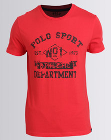 Polo Sport Mens Printed Basic Tee Red
