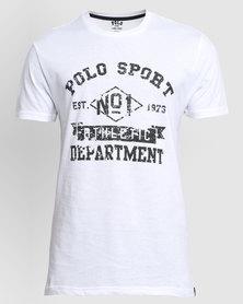 Polo Sport Mens Printed Basic  Tee White