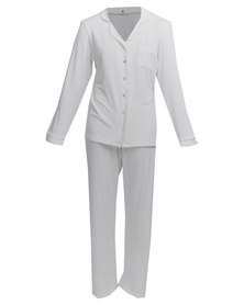 Poppy Divine Classic PJ Set With Ivory Piping White