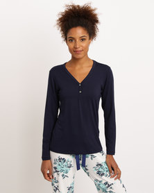 Poppy Divine Viscose Plain PJ Top With Button Stand Navy