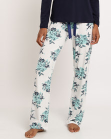 Poppy Divine Viscose Print Long Pant With Bow Detail Ivory