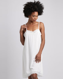 Poppy Divine Rayon Chemise With Lace Trim Ivory