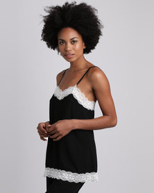 Poppy Divine Rayon Strappy Top With Lace Trim Black