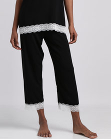Poppy Divine Rayon 3/4 Pants With Lace Trim Black