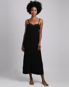 Poppy Divine Rayon Long Chemise With Lace Trim Black